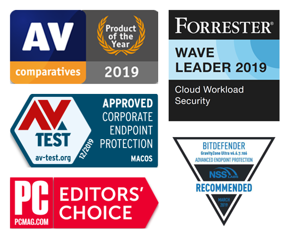 Bitdefender MSP  Solution Awards: AV Comparatives - Product of the year 2019, AV-Test - Approved Corporate Endpoint Protection for MacOS, PCMAG EDITORS CHOICE, Forrester Wave 2019 Leader for Cloud workload security, NSS - Recommended.